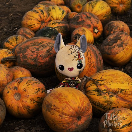 Inked plushie in a pumpkin field